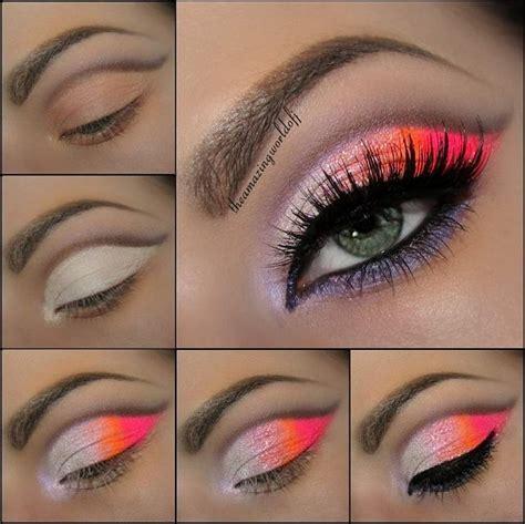 stunning neon pink  orange eye makeup tutorial