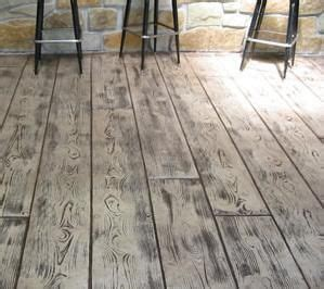 Concrete stamped to look like wood makes a beautiful patio