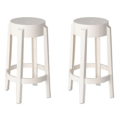set of 2 style ghost counter stool white color