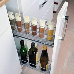 Meuble A Bouteille : rangement coulissant epices bouteilles pour meuble ~ Dallasstarsshop.com Idées de Décoration