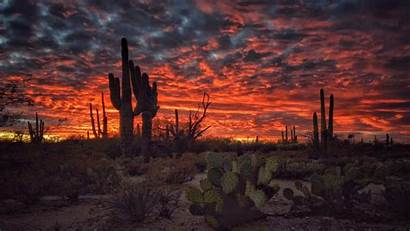 Arizona Sunset Desktop Tucson Wallpapers Computer Desert
