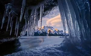 Cave, Ice, Mountain, Winter, Sunrise, Snowy, Peak, Lake