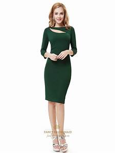 Emerald Green Knee Length Sheath Cocktail Dress With 3/4 ...