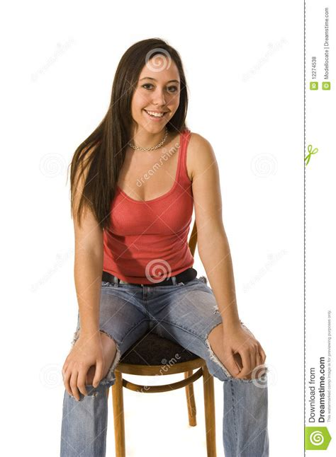 For Sitting by Attractive Sitting In Chair Royalty Free Stock
