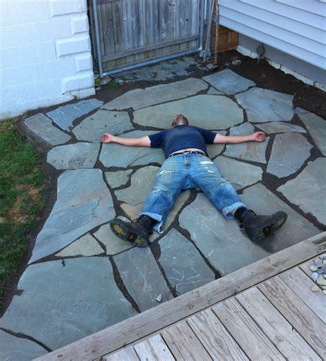 how to build a flagstone patio the 12 hour diy flagstone patio merrypad