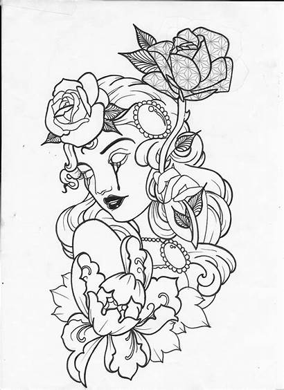 Tattoo Outline Stencil Coloring Flash Skull Drawings