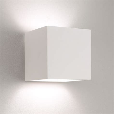pienza plaster square wall light paintable white astro
