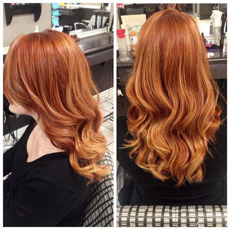 Stunning Natural Looking Red Hair With Golden Balayage
