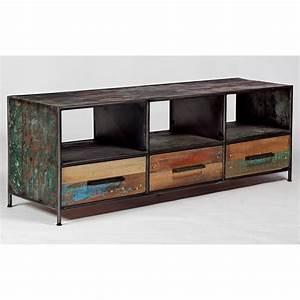 meuble tv industriel drum 3 tiroirs pas cher With meuble tv style industriel pas cher