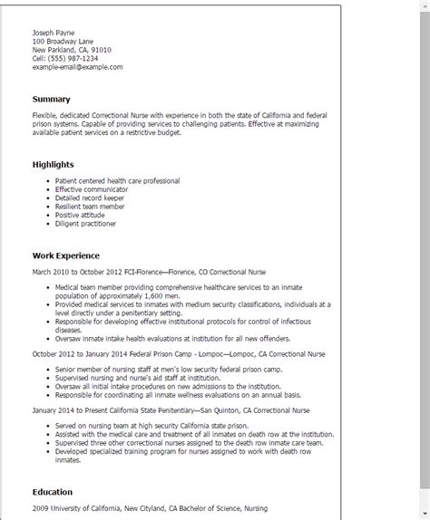 Correctional Resume by Professional Correctional Templates To Showcase Your Talent Myperfectresume