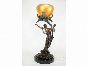 Art nouveau organic flower lady figurine lamp art deco decor for Art deco lady floor lamp