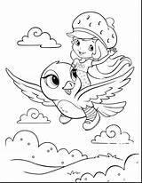 Strawberry Shortcake Coloring Sheet Forkids Flying Riding Bird She Pages sketch template