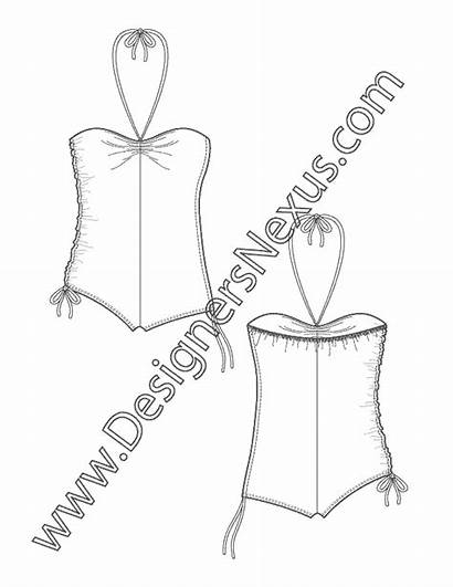 Sketch Swimsuit Flat Side Sketches Halter Swimwear