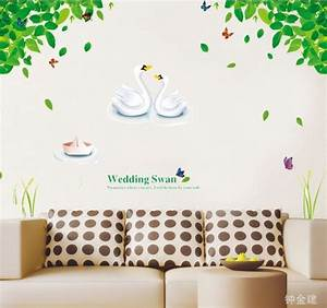 Ay cute wedding swan tree home decor wall stickers