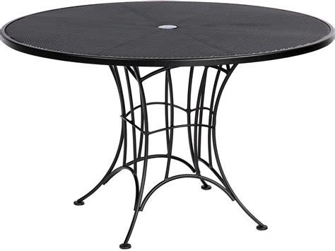 woodard hamilton wrought iron umbrella dining table