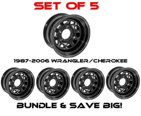 rugged ridge set   black steel wheel  window