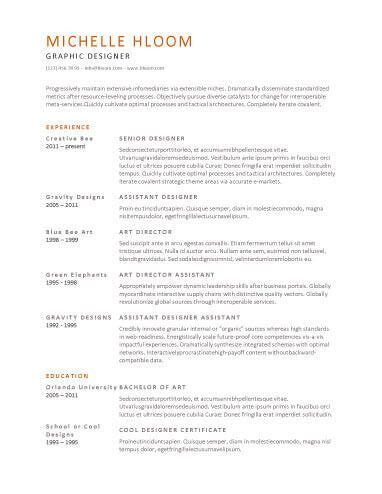 Chronological Resume By Hloom by Chronological Resume By Hloom Aaaaa
