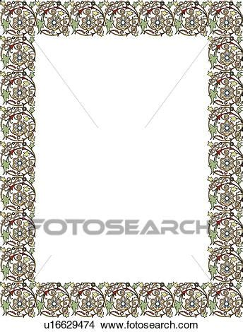 green  purple floral border clipart