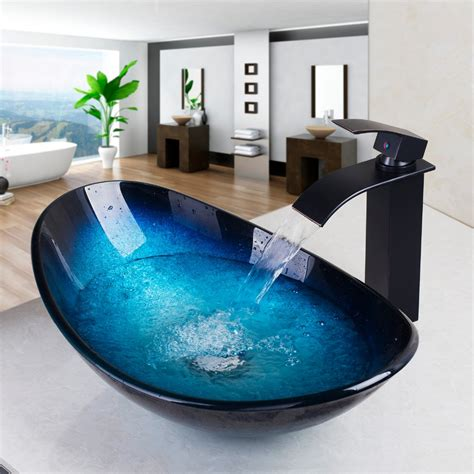 Tempered Glass Bathroom Sink by Whiteoak Tempered Glass Bathroom Sink Waterfall Faucet
