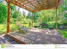 Stunning View From Backyard Farm Pergola Stock Photo