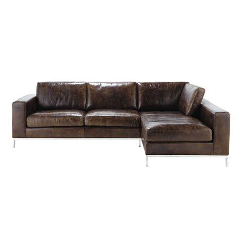 canapé vieilli canapé d 39 angle vintage 4 places en cuir marron