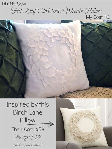 diy felt wreath pillow  winter decor  birch lane