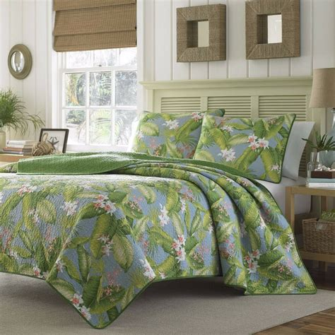 King Size Quilt And Shams by King Size Tropical Coastal Quilt Set Vibrant Blue Green