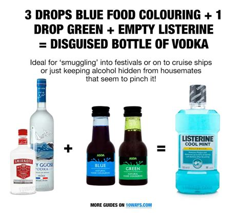Coloring Vodka by Green Blue Food Colouring An Empty Bottle Of Listerine