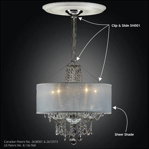 Chandelier With Sheer Drum Shade by Drum Shade Chandelier Clip Slide Adapter Kit Sheer