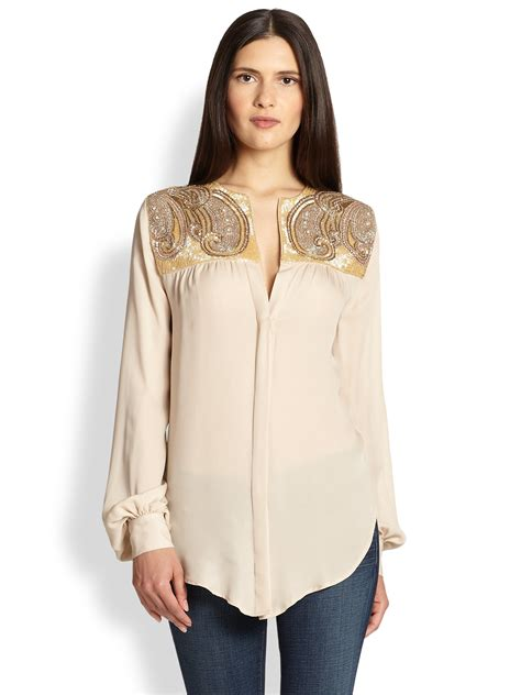 haute hippie blouse haute hippie artwork silk blouse in beige buff gold lyst