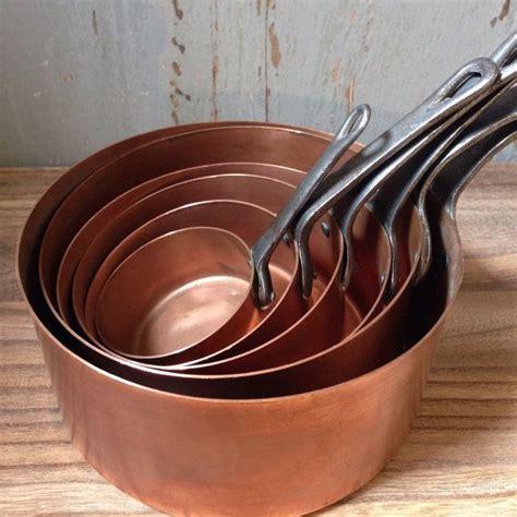 antique vintage french large hammered copper pot professional sauce pans cast iron handle