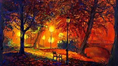 Fall Impressionism Digital Painting Modern Nature Trees