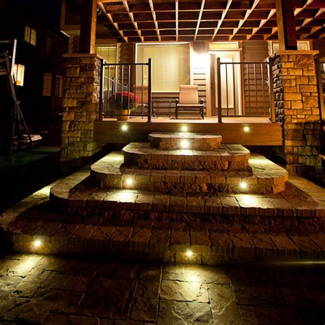 Indoor Stair Lights by Indoor Outdoor Led Recessed Black Stair Light Kit 8 Led