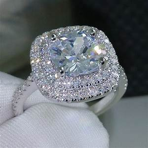 Choucong cushion cut 8mm aaaaa zircon cz 925 sterling for Wedding engagement rings for women