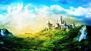 Full HD Wallpaper kingdom castle forest waterfall, Desktop ...
