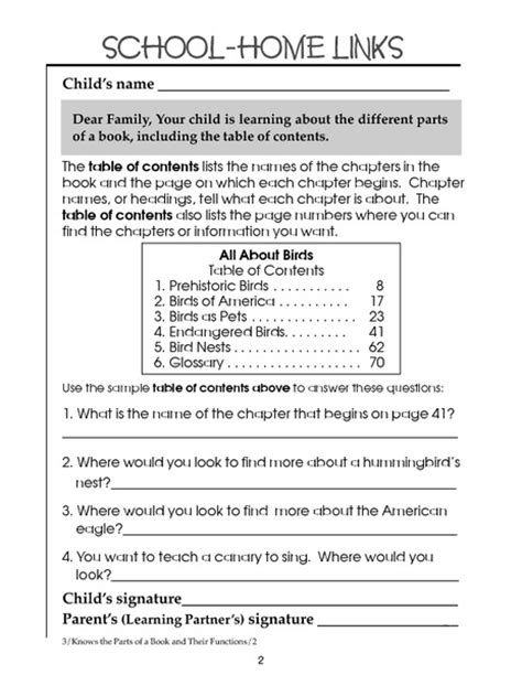 worksheets table of contents images