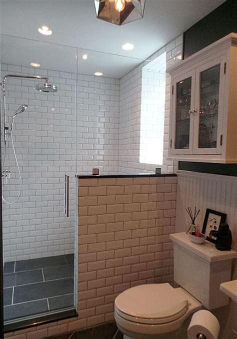 shower half wall thermostatic rain shower slate tiles beveled subway tiles pony wall walk in shower