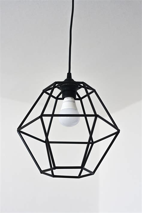 picture of diy geometric pendant light fixture of straws 7