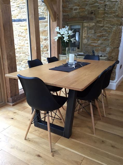 industrial based dining tables  recycled steel
