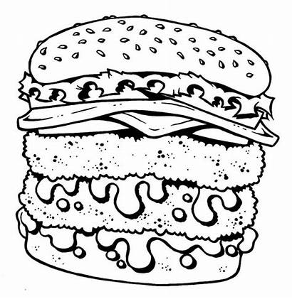 Coloring Burger Cheeseburger Pages Junk Fast Double