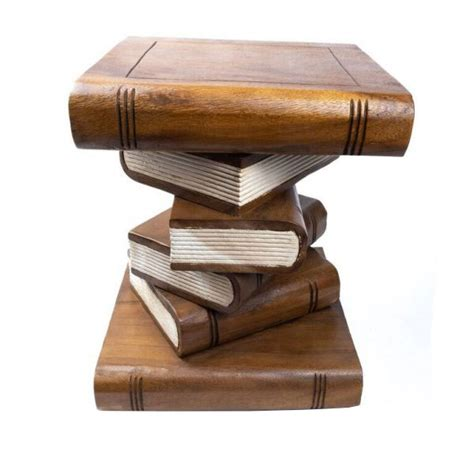 wooden book stack stool table furniture  natural hand