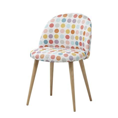 chaise de bureau vintage chaise vintage en tissu pois multicolores et bouleau