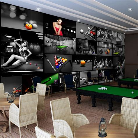 custom photo silk  wallpaper  walls   billiards