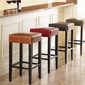 Sabrina Leather Bar Stool - Traditional - Bar Stools And