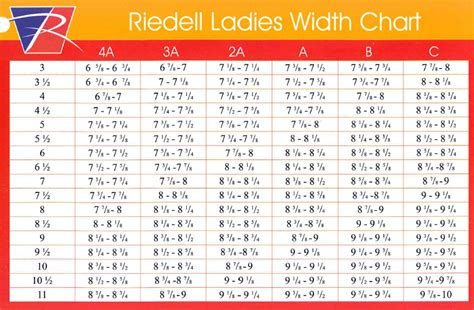 sizing charts riedell usa skates