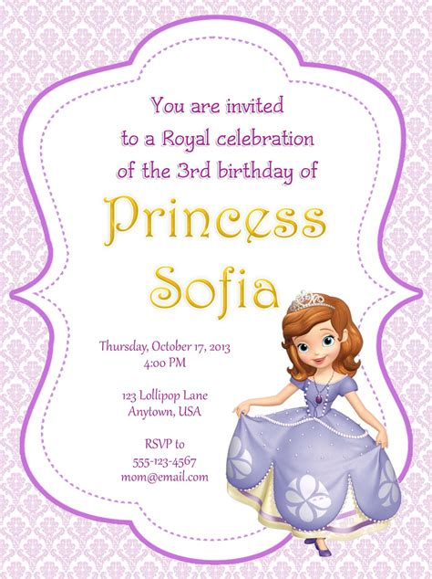 share sofia   party invitations