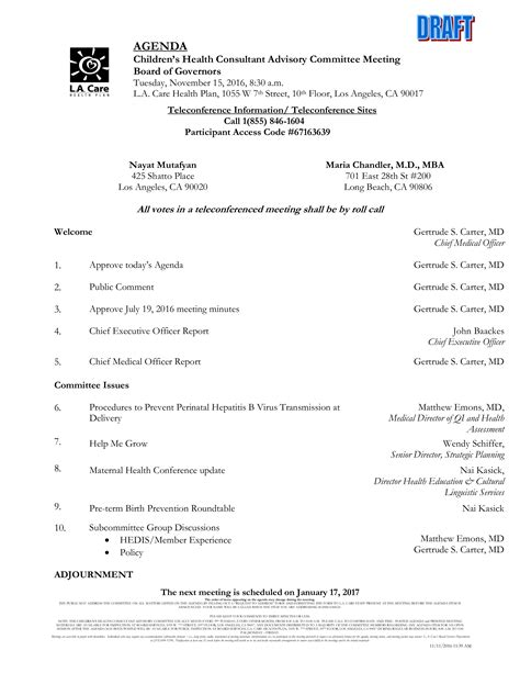 Executive Committee Agenda | Templates at