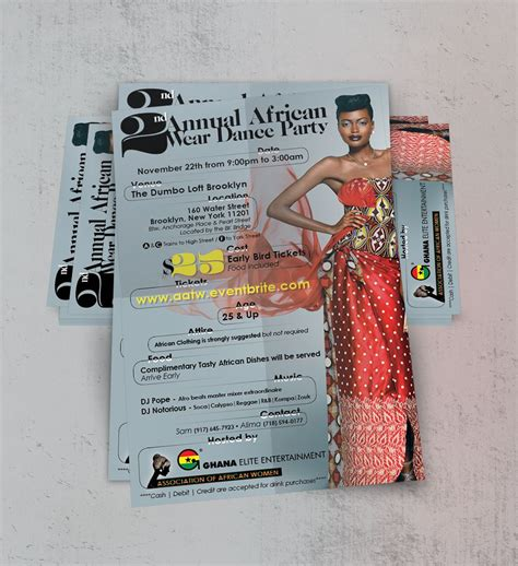 annual african wear dance party flyer httpswww