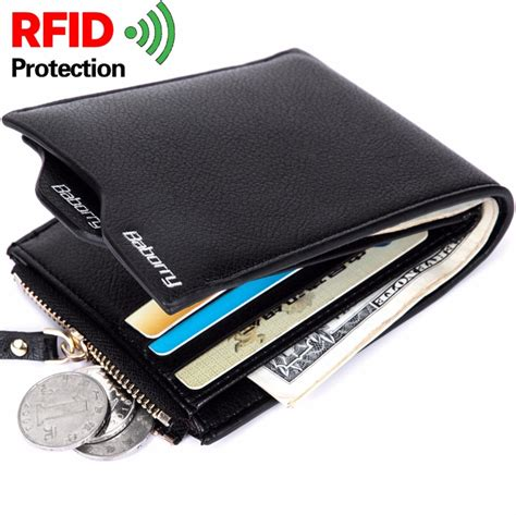 rfid theft protec coin bag zipper wallets brand mens wallet money purses wallets