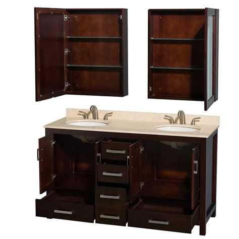 bathroom sink and cabinets sheffield 60 inch sink bathroom vanity espresso 16421